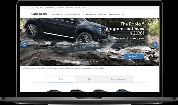 Image illustrating Dacia's website