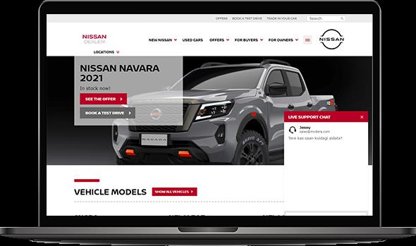 Image illustrating Nissan's website