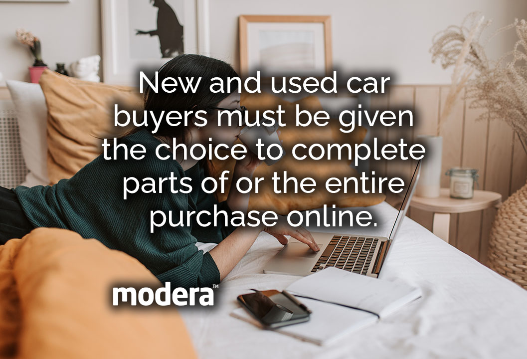 Buyers must be given the choice to complete parts of or the entire purchase online.